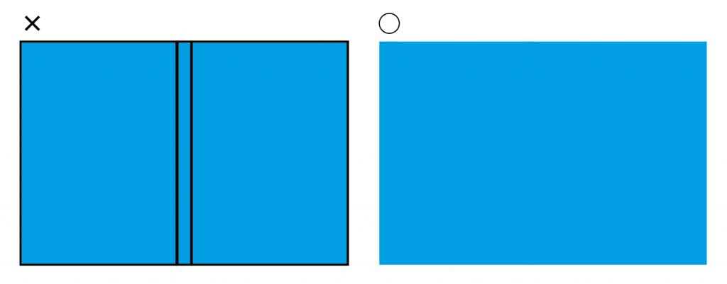 IllustratorやPhotoshopなど、グラフィックソフトで作成する場合は、表1表4+背表紙をすべてひとつながりの「見開き」のデータで作るのが簡単です