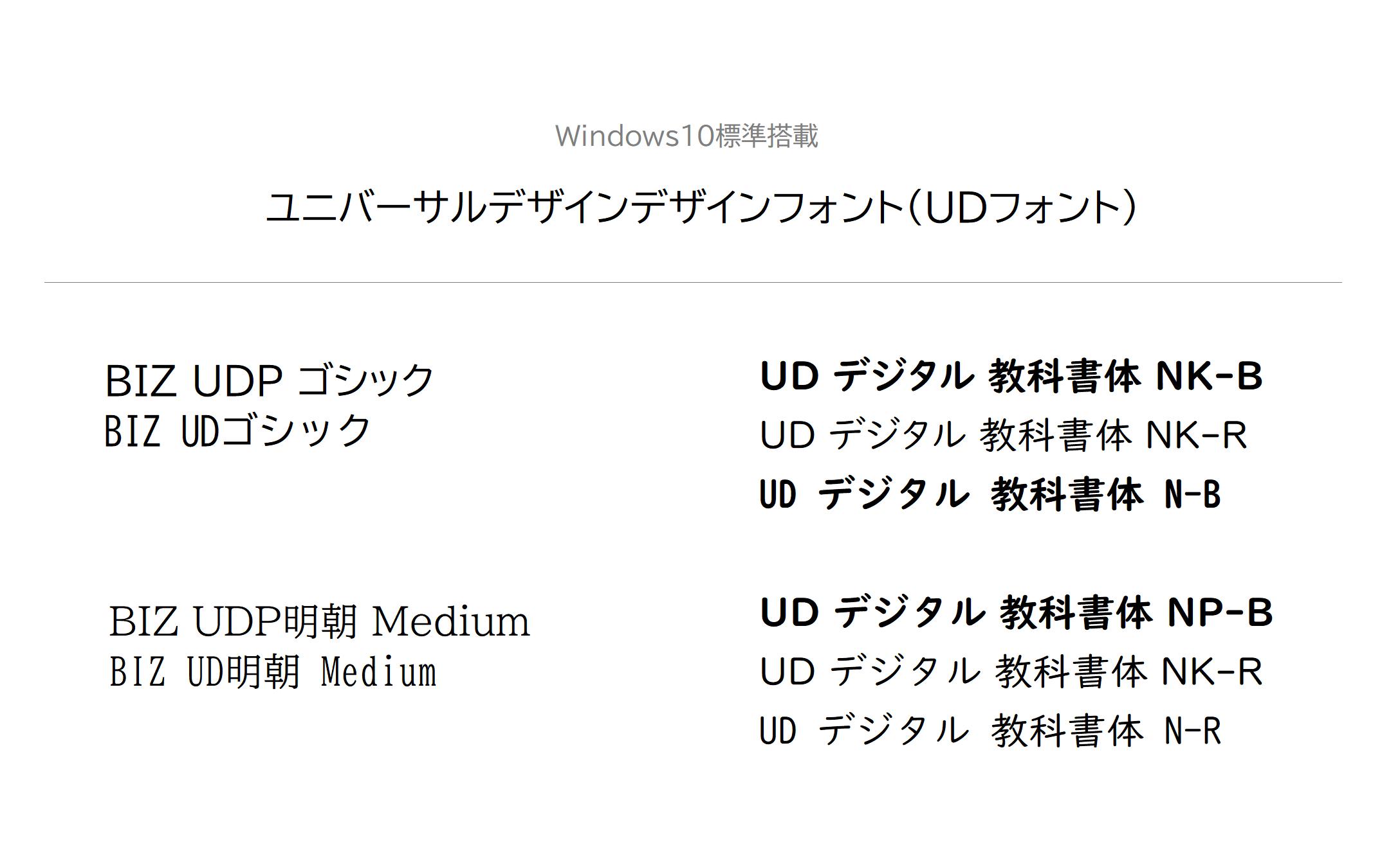 ユニバーサルデザインフォント(UDフォント)